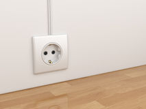 Electric power socket on empty wall. 3D Illustration Royalty Free Stock Image
