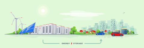Electric Power Station and Battery Storage System with Urban Cit vector illustration