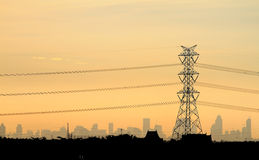 Electric Power Station On Sunset Royalty Free Stock Photography