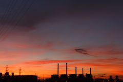 Electric power station at sunrise Royalty Free Stock Photography