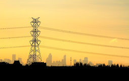Electric power station on sunset Stock Photos