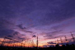 Electric power station at sunset Stock Photo