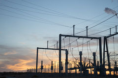 Electric Power Station at Sunset Royalty Free Stock Photo