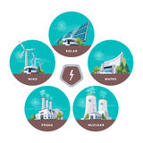 Electric power station types. Vector illustration of solar, water, fossil, wind, nuclear power plants. Different types of factories. Renewable and pollution Stock Photos