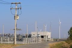 Electric power station with wind turbines power generator Stock Images