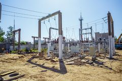 Electric power substation: electricity substation, power Line and power station. Royalty Free Stock Photo