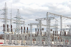 Electric power substation Royalty Free Stock Photos