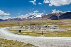 Electric power substation in Kyrgyzstan Royalty Free Stock Photo