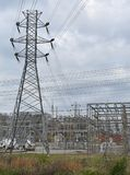 Electric power substation and pylon royalty free stock photo