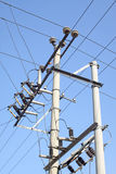 Electric power supply pole Royalty Free Stock Image