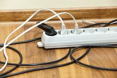 Electric power switch on office floor Royalty Free Stock Images