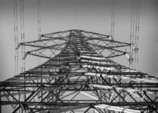 Electric power tower in black and white stock image