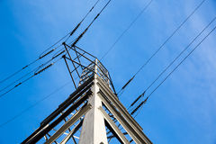 Electric Power Tower and Lines. Energy delivery using high tension electric power lines and tall tower stock images