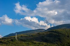 Electric Power Tower in Natural Landscape stock photography