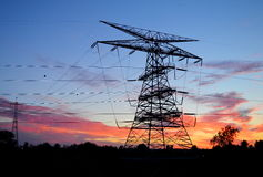 Electric Power Tower Silhouette Stock Photo