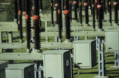 Electric power transformation substation Royalty Free Stock Photography