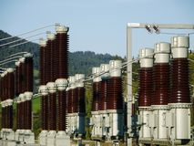 Electric power transformation substation Stock Images