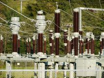 Electric power transformation substation Royalty Free Stock Image
