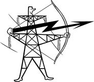 Electric power transmission. This image is a vector illustration and can be scaled to any size without loss of resolution, can be variated and used for different Stock Photography