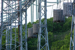 Electric Power Transmission Lines in the countryside Royalty Free Stock Photography