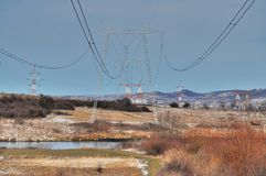 Electric power transmission line Stock Photo