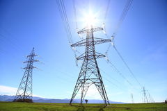 Electric Power Transmission Lines Royalty Free Stock Photos