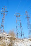 Electric power transmission lines. Royalty Free Stock Photography