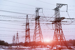 Electric power transmission or power grid pylon wires. Royalty Free Stock Images