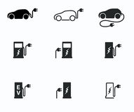 Electric powered car and charging point icons Stock Images