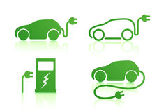 Electric powered car icons Stock Photo