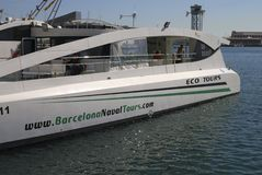 Electric powered tourist boat in Barcelona. Spain Stock Photos