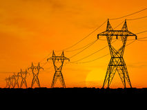 Electric powerlines. 3D Electric powerlines over sunrise Royalty Free Stock Photo