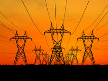 Electric powerlines. 3D Electric powerlines over sunrise Royalty Free Stock Photos