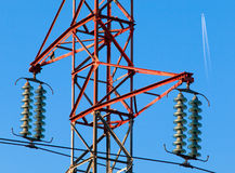 Electric powerlines. High voltage electric powerlines 110 KW Stock Photography