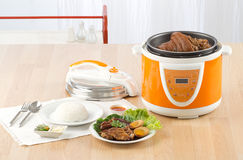 Electric pressure cooker. New technology for cooking stock photo