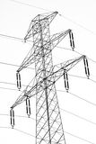Electric pylon. Silhouette of power lines and electric pylon Stock Photo