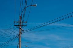 Electric pylon with cable Stock Photography