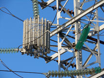 Electric pylon in the center of Moscow (Russia) Stock Photo