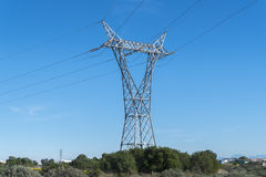 Electric pylon, energy transport Royalty Free Stock Photography