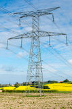 Electric pylon. Front rapeseed field Stock Image