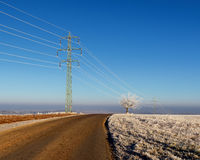 Electric pylon in landscape. High voltage power lines. Stock Photography
