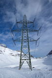 Electric pylon in the mountain Stock Photos