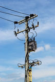 Electric Pylon with Transformer Stock Photo
