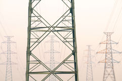 The electric pylons. Royalty Free Stock Photography