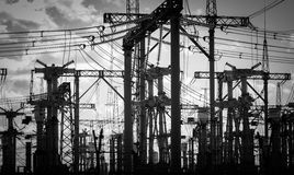 Electric Pylons in black and white Stock Photos