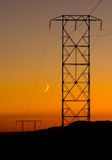 Electric Pylons at sunset in the Mojave desert stock images