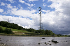 Electric Pylons. Supplying electric over the River Tamar from Devon to Cornwall UK stock images