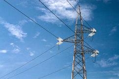 Electric pylons truss in a sky Royalty Free Stock Images