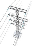 Electric pylons. On white background. 3d render image Royalty Free Stock Images