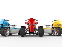 Electric quad bikes - cut shot - red quad in focus Royalty Free Stock Photography